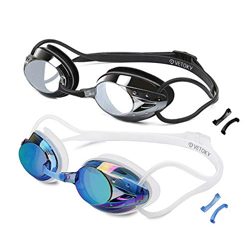 vetoky Swim Goggles, Anti Fog Swimming Goggles UV Protection Mirrored & Clear No Leaking Triathlon Equipment for Adult and Children