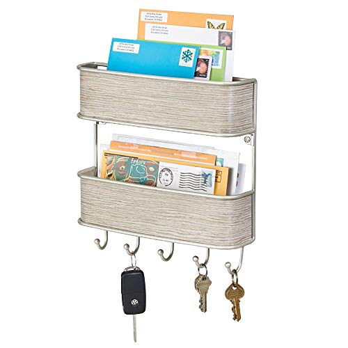 Entry Organizer - mDesign Wall Mount Metal Mail Organizer Storage Basket - 2 Tiers, 5 Hooks - for Entryway, Mudroom, Hallway, Kitchen, Office - Holds Letters, Magazines, Coats, Keys - Satin/Gray Wood Finish