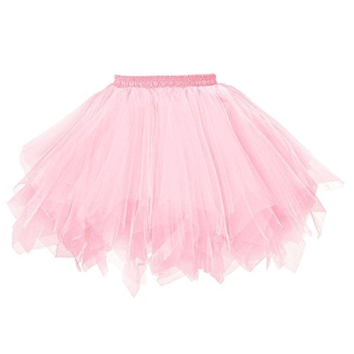 Topdress Women's 1950s Vintage Tutu Petticoat Ballet Bubble Skirt (26 Colors) Pink -