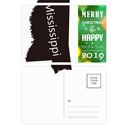 Mississippi USA Map Silhouette 2019 New Year Postcard Thanks Card 20pcs (Postcard Mississippi)