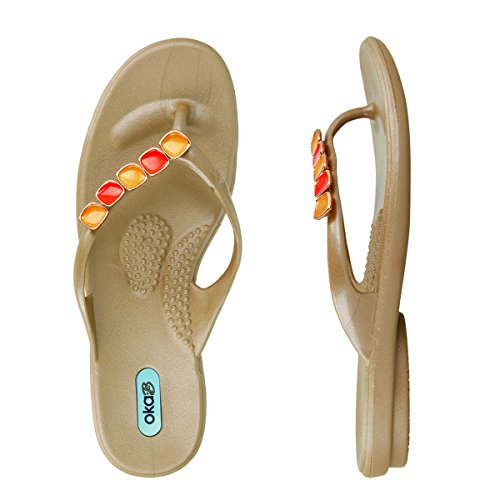 Oka B Women's Marcella Enamel Strand Flip Flop Sandals (Large / 10-11 B(M) US, Aged Gold w/ Orange Strand)