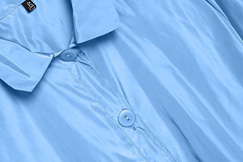 ACEVOG Chaquetas Impermeables Largas Abrigo con capucha Chubasquero Outdoor Verano de Mujer azul