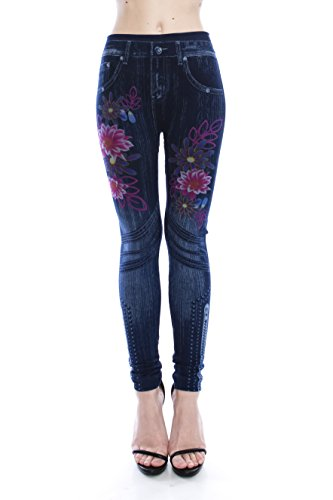 VIRGIN ONLY Women's Denim Jeans Printed Elastic Waist Band Seamless Leggings (1596 Navy, Size OS)