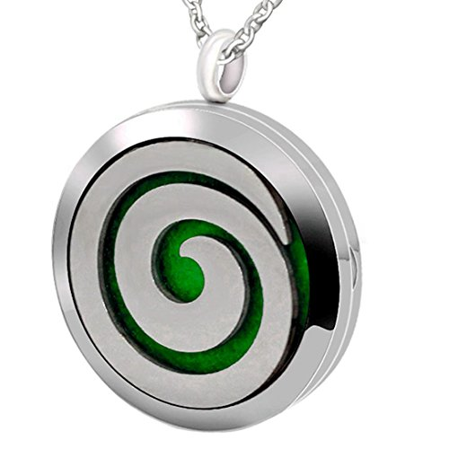 Popeoiuh Essential Oil Diffuser Necklace Hypoallergenic Stainless Steel Aromatherapy Swirl Locket Pendant Jewelry Sets Gift for Women Men Boys Girls Kids ()