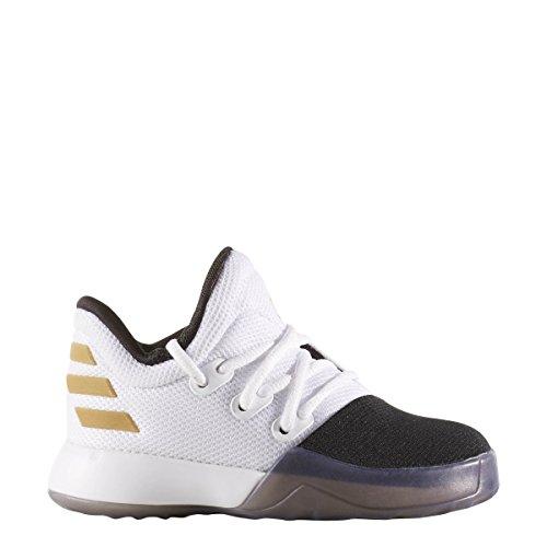 Price comparison product image adidas Kids Unisex Harden Vol. 1 (Infant/Toddler) White/Black/Gold Metallic Athletic Shoe