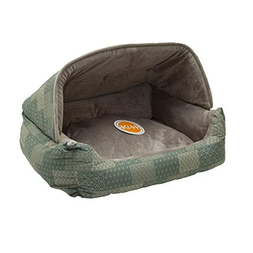 K&H Pet Products 7610 Hooded Lounge Sleeper Pet Bed Teal Patchwork Print 20″ x 25″