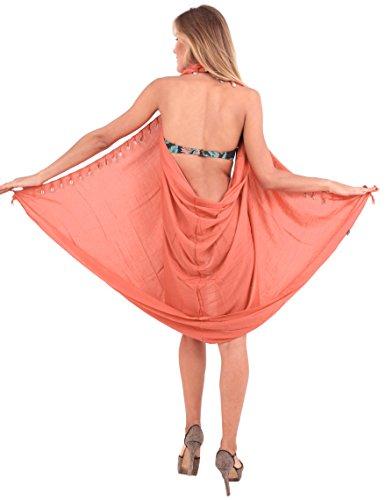 sarong Pesca coprire 70x43inch dolce avvolgere solido o702 rayon spiaggia conchiglie nappe LA LEELA zqUOPaz