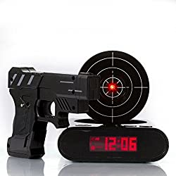 Digital Alarm Clock, Webat Digital Alarm Clock Lock N' load Gun Alarm Clock Target Gaming Clock-Black