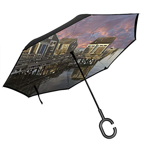 Car Reverse Umbrella,Sunset Over Nantucket Massachusetts Dramatic Sky Clouds Pond Houses,With C-Shaped Handle