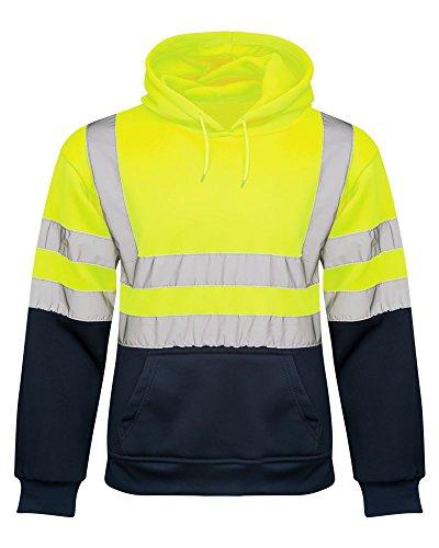Mens no Zip 2 Tone Hi Vis Sweatshirt Tape Band Pull Over Security Hoody [Yellow M]