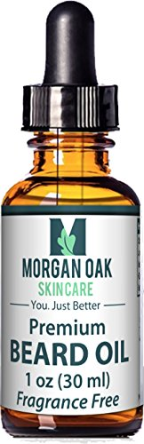Morgan Oak Premium Beard Oil & Leave in Conditioner 1 oz-9 Nutrient-Rich Oils-Vitamin E, Argan, Avocado & JoJoba Stimulates Hair Growth for Thicker Beard Eliminates Beard Dander & Dry Skin Unscented