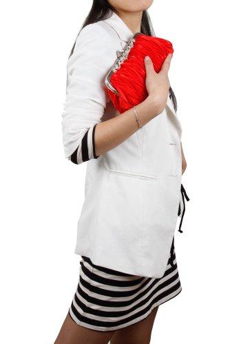 VISKEY Women's Shoulder HandBag Faux Fur Clutch Tote Hobo Bag Long Purse Wallet glossy red