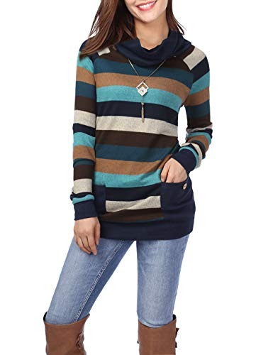 BaiShengGT Blouse Tops for Women, Womens Tunic Long Sleeve Cowl Neck Casual Slim Tops Shirts X-Large Green Stripes & Navy