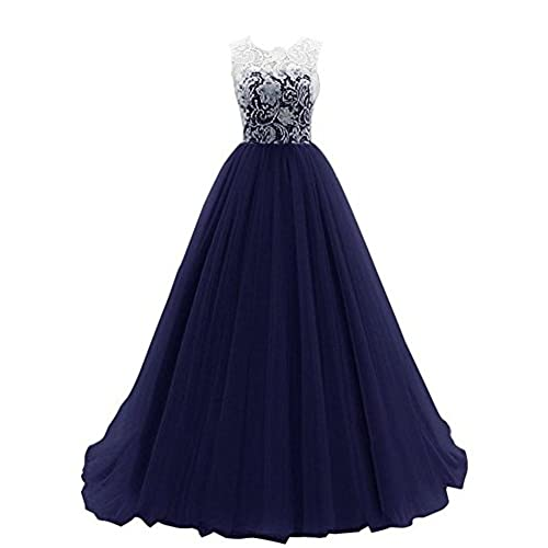 WHENOW Womens Sleeveless Lace Long Prom Dresses Party Ball Gowns Navy Green US 24