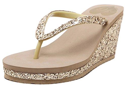 IDIFU Women's Sexy Sequined Platform Wedge Flip Flops High Heel Thong Beach Sandals Gold 8 B(M) US