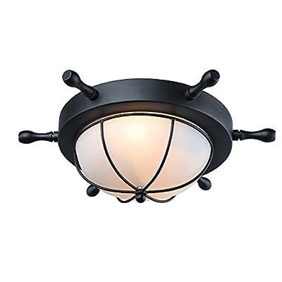 LNC 1-light Flush Mount Ceiling Light Fixture, Black Finish, Frosted Glass