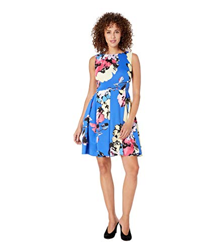 Taylor Dresses Women's Sleeveless Floral Print Fit and Flare Dress, Blue Peony, 12