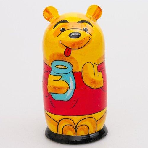 Matryoshka 5pcs Winnie-the-Pooh New Beautiful Yellow Wooden Russian Nesting Dolls Gift Matreshka Handmade Hand-painted Babushka Doll