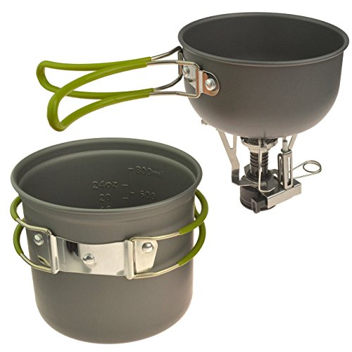 Outdoor Cookware Outdoor Camping Pans and Pots Cook Set Camping Stove Cookware Hiking Backpacking Picnic Cookware Cooking Tool Set Pot Pan + Piezo Ignition Canister Stove