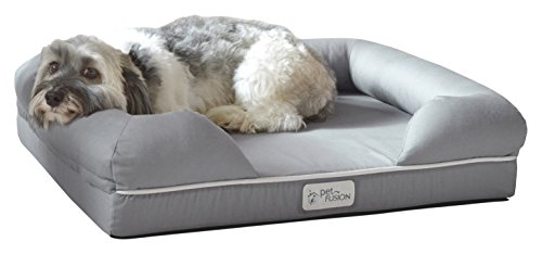 PetFusion Ultimate Solid 2.5' WATERPROOF Memory Foam Pet Bed for Small Dogs & Cats (25x20x5.5' orthopedic mattress; Gray). Replacement covers & blankets also avail