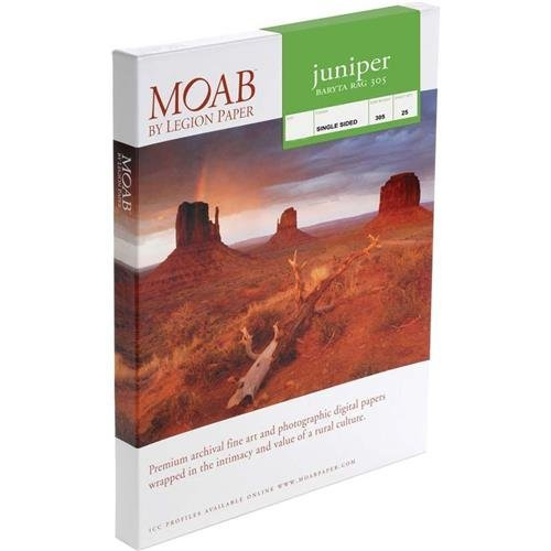 Moab Juniper Baryta Rag Glossy A3+ Fine Art Inkjet Print Paper, 13x19'', 305gsm, 25 Sheets