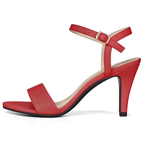 Allegra K Donna Open Toe Stiletto Cinturino Alla Caviglia Sandali Con Tacco Rosso