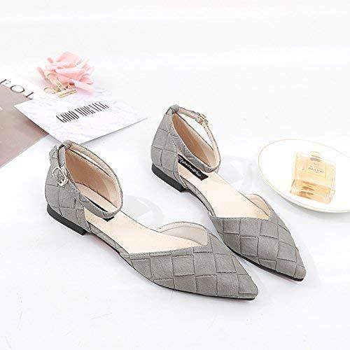 Eeayyygch Einzelne Schuhe Frauenspitze Hohle Hohle Hohle Flache Schuhe leichte geschlitzte Damensandalen mit niedrigen Damenschuhen (Farbe   39 Größe   The Light grau) 2d2aa3
