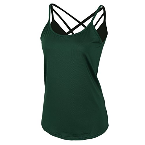 MagiDeal Frauen Damen Plain ärmellos Riemchen Camisole Weste Cami Tank Top Grün Eg3tMgSi