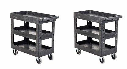 (Pearington 3T-2TYPC Multi Purpose Heavy Duty 3 Shelf Service Cart & Utility Cart with 500lb Loading Capacity, Gray (2-(Pack)))