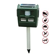 The Garden Secrets 3-in-1 OUTDOOR SOLAR ULTRASONIC PEST REPELLENT, skunk raccoon deer repeller, Sound or ultra-sound can be selected, with its powerful deterrent effect, 12 months full warranty.