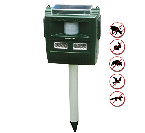 GARDEN SECRETS 3-in-1 Professional ULTRASONIC ANIMAL REPELLENT, deer skunk raccoon cat rat mice etc. deterrent, Indoor/Outdoor, Solar/Transformer, Ultrasonic/Alarms, whole year full warranty!