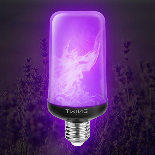 LED Flame Bulb Purple Fire Bulbs 99 LED 6W 4 Modes E26/E27 Base Flickering Fire Light Bulbs with Gravity Sensor for Halloween Christmas Party, Restaurant, Indoor Outdoor Home Decor(1 Pack)