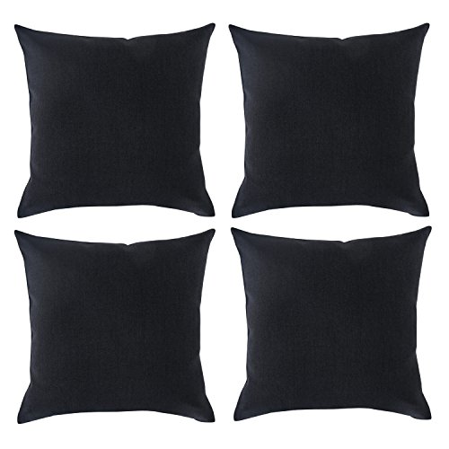 Deconovo Faux Linen Woven Fine Soft Home Decorative Hand Made Pillow Case Cushion Cover 18×18 Black Set of 4