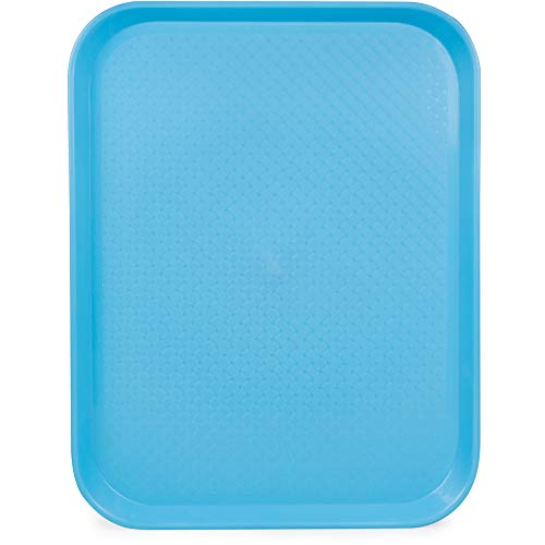 Fast Food Cafeteria Tray | 14 x 18 Rectangular Textured Plastic Food Serving TV Tray | School Lunch, Diner, Commercial Kitchen Restaurant Equipment (Blue) ()