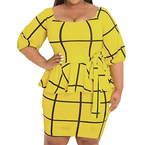 Claystyle Women's Plus Size Jersey Long-Sleeve V-Neck Dress Yellow