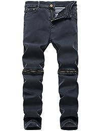 Boy's Grey Slim Fit Skinny Denim Jeans Ripped Elastic Pants With Zipper For Kids