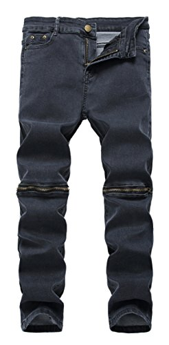 Boy's Grey Slim Fit Skinny Denim Jeans Ripped Elastic Pants with Zipper for Kids