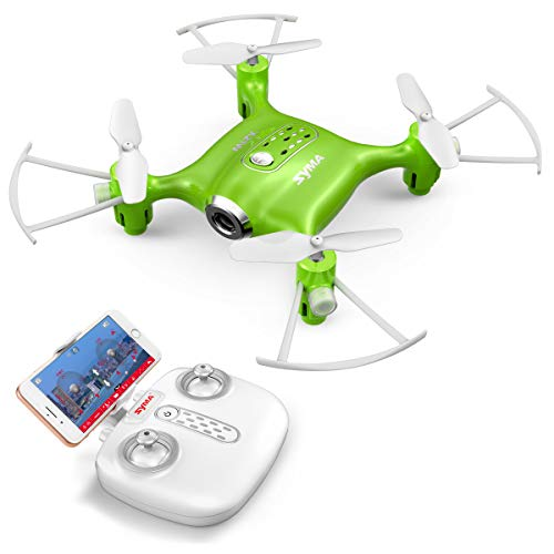 Cheap Syma X21W Mini RC Drone with Camera Live Video, 2.4GHz 6-Axis Gyro FPV WiFi App Controlled LED Quadcopter Drone for Kids & Beginners with 3D Flips, Headless Mode, Altitude Hold.Green