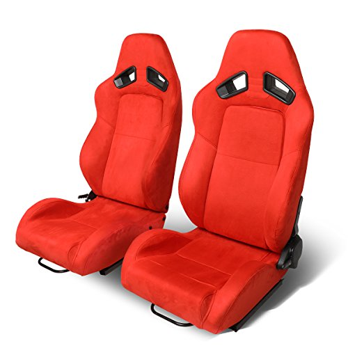 Pair of Universal Red Synththetic Suede Reclinable Racing Seats + Adjustable Slider ()