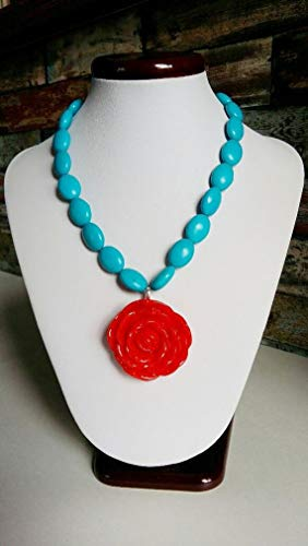 (Floral Pendant Necklace, Red Rose Flower Pendant, Turquoise Necklace, Frida Kahlo Necklace, great gift for Mother's Day!)