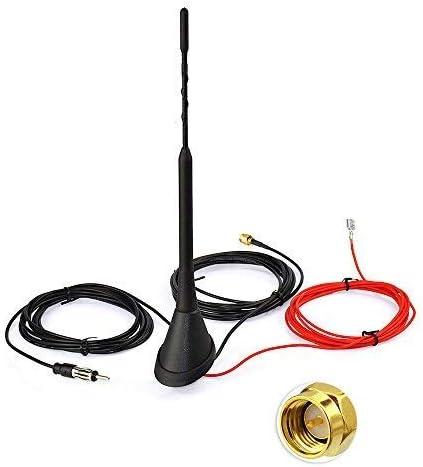 Adaptador Antena Corta Universe 3/cm Antena Antena Soporte Raku 2/Socket con Amplificador 16/V Set para Universal/ /Coche Auto Antena Radio