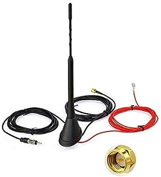 Bingfu Dab Antena de Coche, Digital Radio FM/Am Combinación Dab Antena, SMA Macho DIN Macho Adaptador Montaje en Techo Amplificador de señal Radio ...