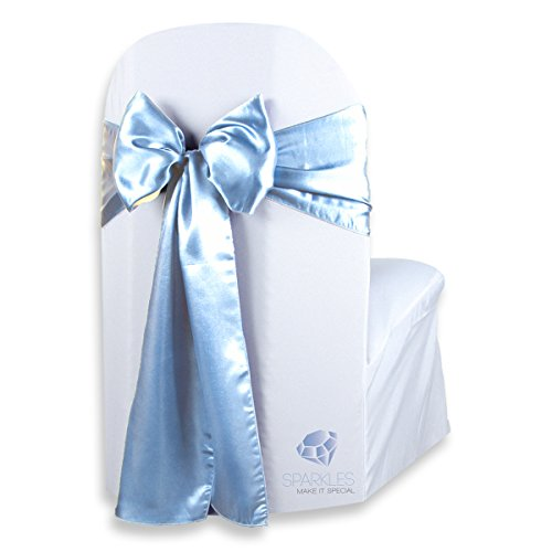 Sparkles Make It Special 20 pcs Satin Chair Cover Bow Sash - Light Blue - Wedding Party Banquet Reception - 28 Colors Available