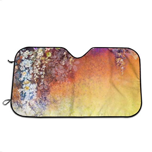 - Vintage Watercolor Spring Flowers Windshield Sun Shade Visor - Pop Culture Novelty Car Accessory Car Sun Shade UV Protector Shield Auto Window Windshield Cooler Truck SUV (51