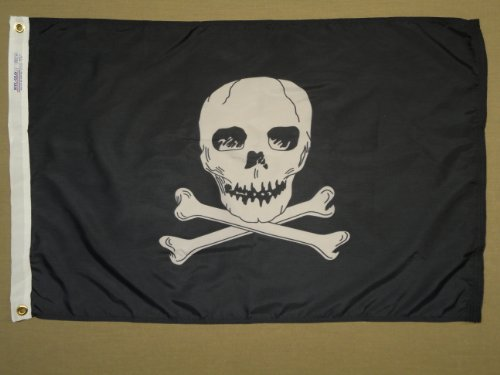 (Jolly Roger Pirate Skull Crossbones Indoor Outdoor Dyed Nylon Flag Grommets 2' X 3')