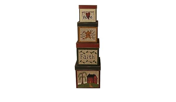 Juego de 4 cajas de cartón para nido cuadradas con diseño de la esperanza vintage, tamaño grande, 20 x 20 x 20 cm: Amazon.es: Hogar