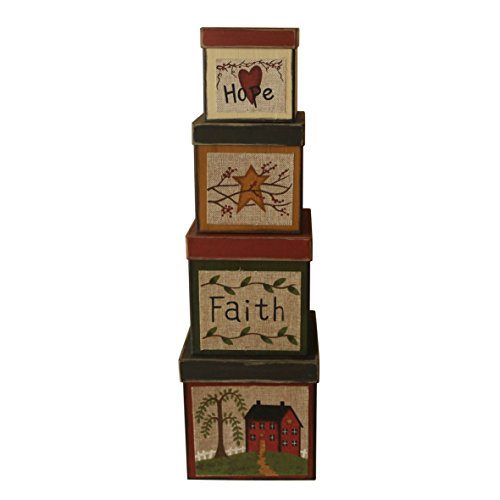 CVHOMEDECO. Square Primitive Vintage Hope Faith Star House Collectibles Cardboard Nesting Boxes, Large 8