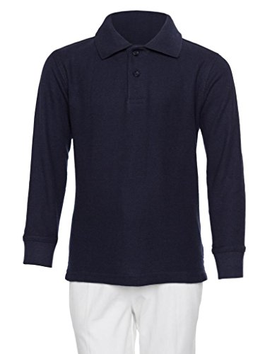 AKA Boys Wrinkle Free Polo Shirt Long Sleeve - Pique Chambray Collar Comfortable Quality Navy ()