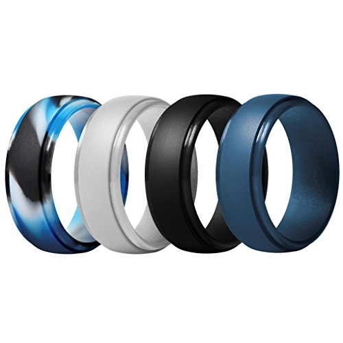 ThunderFit Silicone Rings for Men - 4 Pack Rubber Wedding Bands (Dark Blue, Black, Blue Camo, Silver, 10.5-11 (20.6mm)) (Him Set)