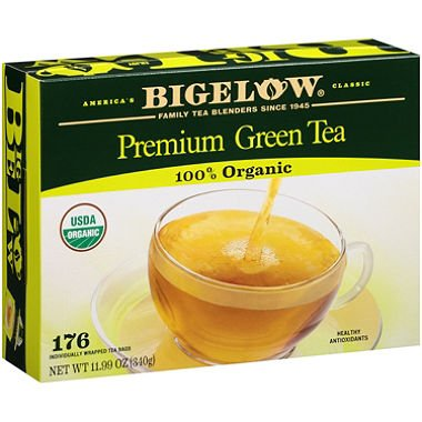 Bigelow Premium Organic Green Tea, Family Size 2 Pack ( 176 Ct Each )